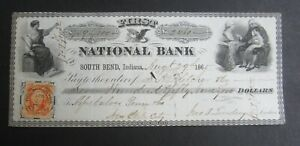 Old 1865 First National Bank - SOUTH BEND Indiana - BANK CHECK - Revenue Stamp