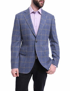 Mens 44R Napoli Slim Fit Blue Check With Windowpane Two Button Half Canvassed...