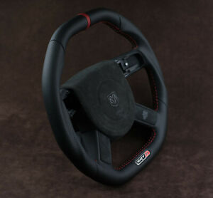Customized steering wheel Flat bottom Square Top HEMI Srt8 RT8 with Dodge Embose