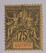 Travelstamps: 1892 French Guiana Stamps Scott #48 Mint, Ng Hinged , 75 Ctms