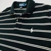 Polo By Ralph Lauren Mens Polo Shirt Black White Stripe Short Sleeve Cotton M