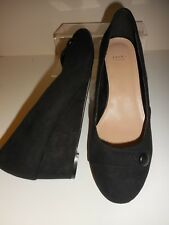 334aa67f56b5 Black Faux Suede Button Detail Wedge Shoes Size UK 8 Wide Fit (EEE) BNWT