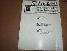 1989 Chevy Cavalier Lumina J/N/W Platform Technician's Noise Guide Manual