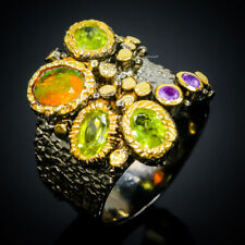 Ring Size 7 Natural Opal, Amethyst, Peridot 7x5mm 925 Sterling Silver