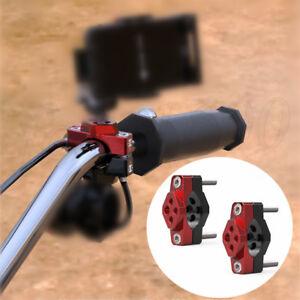 2x CNC Motorcycle Handlebar Bracket Mounting Base Pad M8+M6 Thread for Fog Light