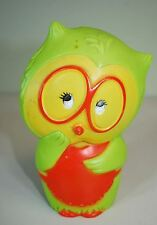 "Vintage 1971 Retro Owl Coin Bank - Tom Remo Plastic - 5"" Green Girl Owl Glasses"
