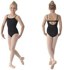 NWT Dance Mirella Black Camisole Leotard Front Lined Girls Med Child 8/10 M241C