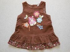 'NEXT' BABY GIRL BROWN CORDUROY PINAFORE DRESS SIZE 0000 FITS UP TO 1M