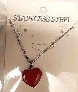 Fashion Jewelry - collana con Cuore Rosso 1,5cm San Valentino Amore - Nuova