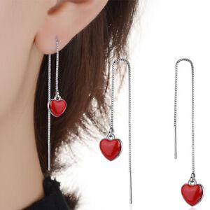Womens Charm 925 Sterling Silver Red Epoxy Heart Tassel Chain/Link Drop Earrings