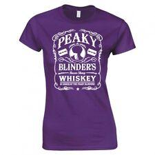 """PEAKY BLINDERS INSPIRED """"WHISKEY LOGO"""" LADIES SKINNY FIT T-SHIRT"""