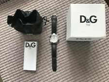 D&G Ladies Watch DW0539 with Silver Multi Function Dial, Black Leather Strap