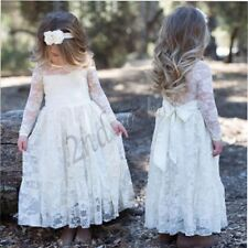 Lace Flower Girl Dresses Long Sleeve Princess Bridesmaid Ball Gown Wedding Party
