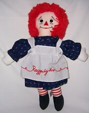 """Raggedy Ann with Shoe Button Eyes 17""""  Dark Blue Dress with blue & white spots"""