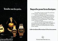 PUBLICITE ADVERTISING 106  1979  Texas Instruments (2p)  montres quartz éléctr