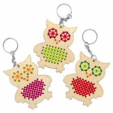 OWL CROSS STITCH KEYRING KIT KIDS CRAFT BEGINNER SEWING ACTIVITY GIFT FUN THREAD