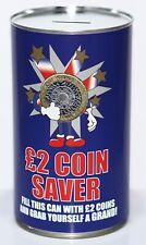 £2 Coin Saver - Large 17.5cm Savings Tin Money Box Jar Fund Holds upto £1000