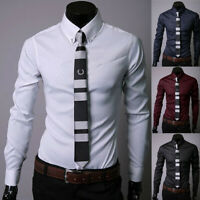 Luxury Men's Stylish Casual Dress Shirt Slim Fit T-Shirt Long Sleeve Formal Top