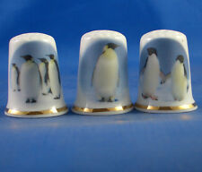 Birchcroft Thimbles -- Set of Three  -- Emperor Penguins ( Make Offer )