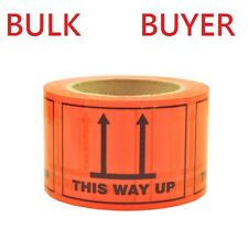 24ROLLS This Way Up Labels 500/ROLL 100x72mm Fluoro Orange Perforated Sticker