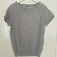 Reiss Womens Short Sleeved Knitted Sweater. Light Grey Marl Size M/10