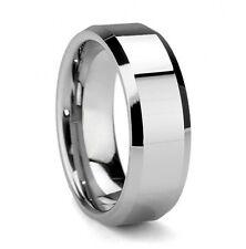 Tungsten Mens Olympus Beveled Edges Silver Wedding Band Ring Never Tarnish M61