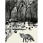 Painting Landscape Graveyard Fox Crows 12X16 Inch Framed Art Print