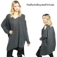 BOHO Charcoal Goth Open Shoulder Oversized CASHMERE Tunic Sweater Top S M L XL
