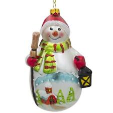 Snowman with Broom and Lantern Glass Christmas Ornament 4.75 Inches