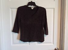11720cfa45f EUC Christopher   banks v neck 3 4 sleeve shirt womens Medium brown lace  design