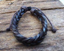 Brown Leather Plaited  Mens Womens Bracelet Anklet Wristband