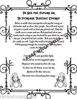 Psychic Vision & Energy Spell 1pg Wicca Book of Shadows Pagan Witch Ritual Magic
