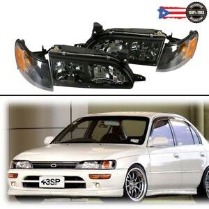 For 93 97 Toyota Corolla JDM DX Black Housing Headlights & Corners Lights Set