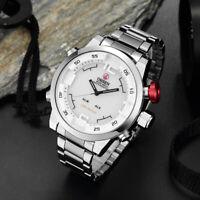 Ohsen Men's Waterproof Dual Time Digital LED Stainless Steel Quartz Wrist Watch