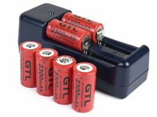 6x 3.7v GTL 2300mAh CR123A 16340 Rechargeable Li-ion Batteries+Universal Charger