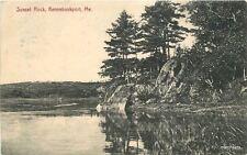 1908 Kennebunkport Maine Sunset Rock Rankin postcard 4702