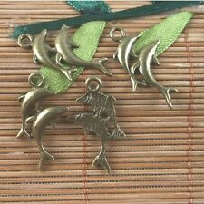 14pcs antiqued brass dolphin charms pendant G1615