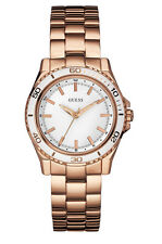 NWT GUESS Women's White & Rose Gold Tone Mid Size Sports Watch U0557L2