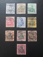 "Germany #52-61 Used, 1900 ""Reichpost"" Complete,    Scott Catalog Value $ 14.50"