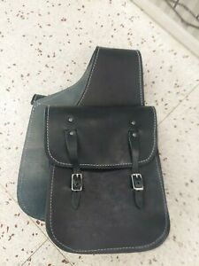 New horse Tack Saddle Bags heavy smooth black leather Western hunting