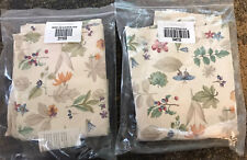 Longaberger Valence Tab Tie Botanical Fields - Set Of 2