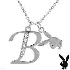 Playboy Necklace Initial Letter B Pendant Bunny Charm Crystals Platinum Plated