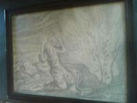 Dessin  original - le buisson ardent - religieux . GOZLAN encadré sous verre -XX