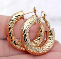 18K Gold Filled Earrings Luxury Concave-conve Stud Hoop Bohemia Clip-On Party BR