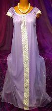 60s Vintage Purple Nylon Sheer Chiffon Lace Nightie Peignoir Long Sweep Gown M L