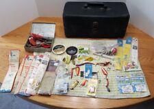 Black Metal Tackle Box Dozens Vtg 30s Hooks Spoons Eagle Claw Gamakatsu Fishing