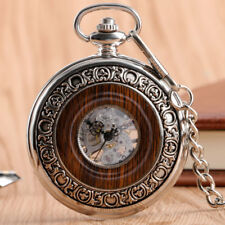 Steampunk Antique Pocket Watch Hand-winding Mechanical Wood Pendant Chain Womens