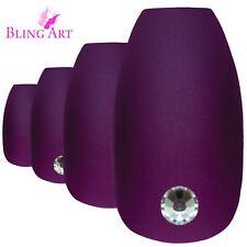 False Nails Purple Matte Ballerina Coffin Bling Art 24 Fake Long Tips 2g Glue