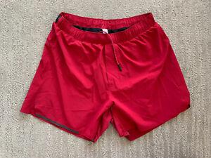 "Lululemon 5"" Running Shorts Lined - Used - Men's Sz M - Red"