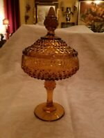 LARGE VINTAGE INDIANA GLASS CO. AMBER LIDDED DIAMOND POINT CANDY BOWL